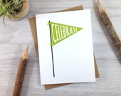 Green Banner Celebration Card, Congratulations Greeting Card, Birthday Card, All Occasion Card - Single