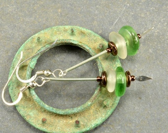Aqua green trade bead dangling sterling silver and genuine cool white sea/beach glass earrings from Maine