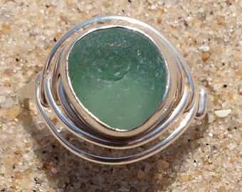 Seafoam Green sea beach glass ring 7
