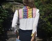 Vintage 60's Hippie Button Up Patchwork Crop Top