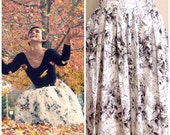 ON SALE Vintage 1950s Floral B&W Circle Skirt