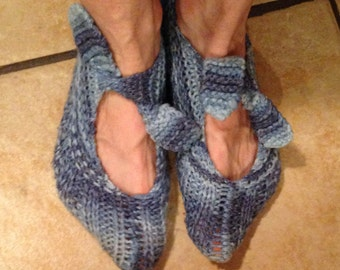 Blue Ombre Handmade Pixie House Slippers