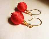 Earrings wrapped in Red Silk Cord, dangle, Gold findings