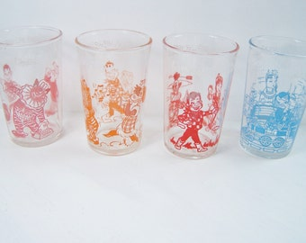 Howdy Doody Juice Glasses, Set of 4 1950's Welch's Character Jelly Glasses, SALE, TV Memorabilia Collectible Vintage Glassware