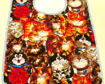 Big kids bib with lots of Cats