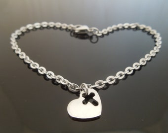 "3mm Stainless Steel Bracelet Or Ankle Chain Anklet With Heart Cross Charm 6"" 7"" 8"" 9"" 10"" 11"" 12"" etc"