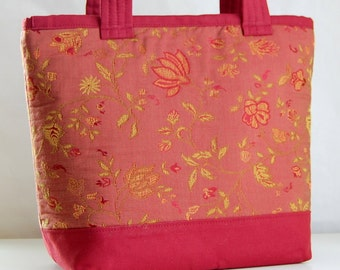 Muted Red Botanical Fabric Tote Bag - READY TO SHIP