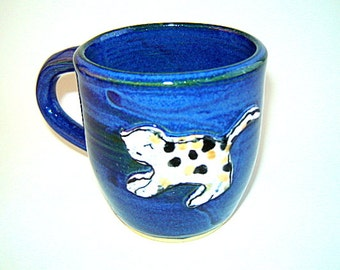 Calico Cat Blue Mug Tea Cup Painted Orange White Black in Stoneware Pottery