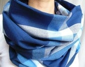 Plaid Infinity Scarf, Denim Blue, Indigo, and Light Blue Tartan Scarf, Modern, Oversized, Free Shipping to USA/Canada, Womens Scarf, Gift