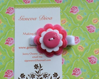Shades of Pink Stacked Felt Flower Clip