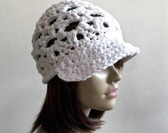 Chalk White Beach Brimster - All season headwear - 100 Percent cotton yarn in Chalk White - Open stitch design