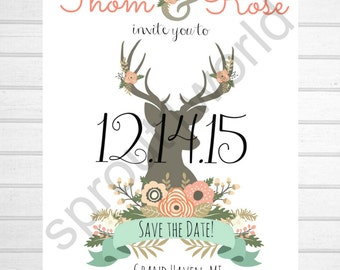 Blooming Antlers Vintage Save the Dates Cottage Chic, Shabby Chic,