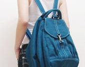 Canvas Women Backpack in Teal, Shoulder Bag, Hobo Bag, Crossbody Bag, Travel Backpack, Satchel, Rucksack, Gift For Girls -ESS- SALE 20% OFF