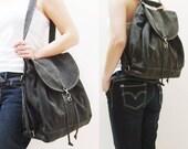 New Year SALE - 20% OFF Pressie in Pre-Washed Black / Backpack / Satchel / Rucksack / Messenger / Shoulder bag / Tote / Women / For Her