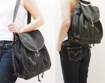 Back To School SALE - 20% OFF Pressie in Pre-Washed Black / Backpack / Satchel / Rucksack / Shoulder bag / Tote / Women