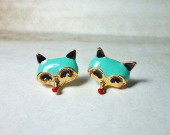 SALE - Fox Head Stud Earrings