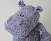 "Thistle Hippopotamus - Angora and Wool Hand Knit Large Eco Friendly Stuffed Animal - Toy Hippo, 15"" tall"