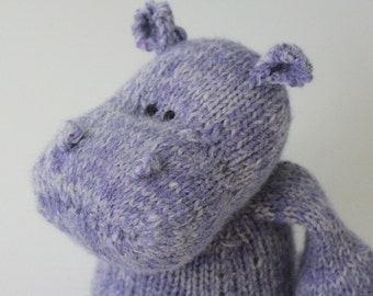 "Thistle Hippopotamus - Angora and Wool Hand Knit Large Eco Friendly Stuffed Animal - Toy Hippo, 15"" tall"