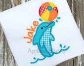 Machine Embroidery Design Applique Dolphin Beach Ball INSTANT DOWNLOAD