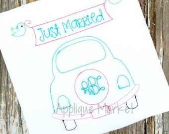 Machine Embroidery Design Wedding Car Vintage INSTANT DOWNLOAD