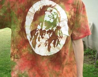 Bob Marley Feeling Irie Green Batik Tee Shirt SALE READY to SHIP Size Large