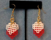 Plastic Canvas Earrings - Red, Pale Pink and White Hearts