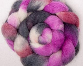 Cheviot 100g hand painted British wool tops roving fibre fiber felt Pink Paradise