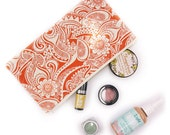 Orange and Ivory Pattern Zipper Pouch