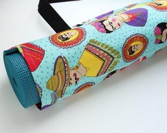 Yoga Mat Bag, Yoga Mat Carrier, Blue, Frida Kahlo, Folklorico, Yoga Mat Tote, Yoga Mat Sack