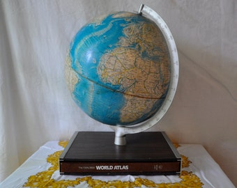 1960s Vintage Rand McNally Globe With World Atlas In Case Stand