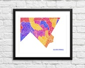 Silver Spring Maryland Art Map Print.  Color Options and Size Options Available.  Map of Silver Spring