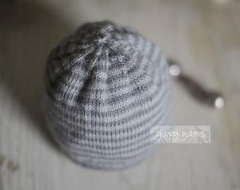 Grey/Gray Newborn Knit Hat Striped Merino Wool