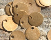 20 brushed red brass disks with hole