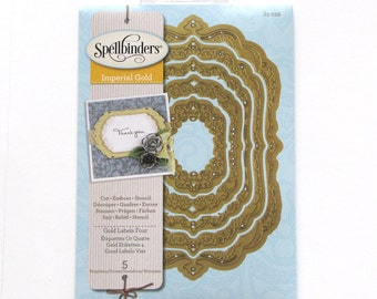 Imperial Gold Labels Four - Nestabilities - Spellbinders dies - labels 4 - Gifts Under 20 - thin metal dies - cutting dies - debossing dies