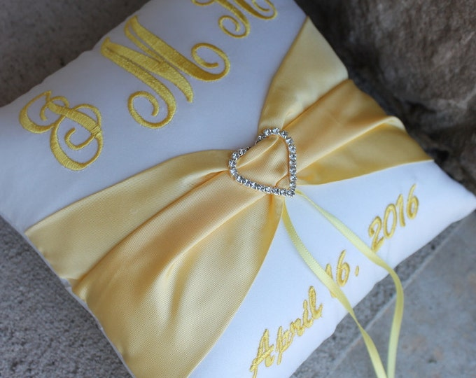 Wedding Ring Bearer Pillow, Personalized, Monogrammed, Custom Wedding Decor Design Your Own, Rhinestone Heart, Bridal Satin Canary Yellow