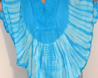 Tie Dye Top/Blouse/ Circle Top/Women Dress/ Summer Dress / Hand Made/Boho / Hippie/Beach dress/free size/Rayon Women Summer dress/last one