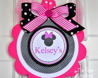 Minnie Mouse Door Sign, Minnie Mouse Vertical Door Sign, XL Door Hanger, Minnie Mouse Birthday Party