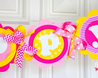 You are my Sunshine Party Banner,You are my Sunshine Birthday Party Decorations, Yellow and Pink Chevron Party Banner