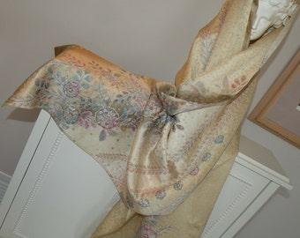 Silk Kimono Fabric Wrap/Shawl/Scarf/Shrug/Tsujigahana Shibori/Cherry Blossoms.Bridal/Wedding Gift..Lavendar/Lilac/Golden/Pastels..see Clutch