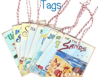Summertime Retro Style Printed Tags for Scrapbooking, Cards, Mini Albums, Journaling Notes, Gift Tags