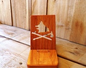 Wood iPhone Smart Phone Dock Reserved iPod iPad Station Wolfs Head with Pipe and Tomahawk Copper Desk Pawnee Flag Gift Idea