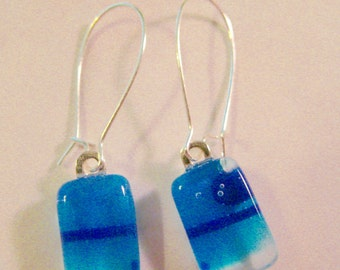 Blue Bubbles and Stripes Fused Glass Earrings