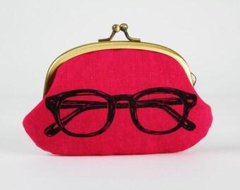 Metal frame coin purse - Eyeglasses on pink - Big smile / Echino japanese fabric / charcoal grey fuchsia black / glasses