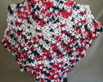 Shawl & Kerchief, Tie On Bonnet, USA Grown Cotton, Red, White and Blue, Patriot