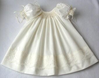 Smocked Infant / Baby / Toddler Dress / Christening dress in white or ivory/ Hand smocked christening gown / Baptismal Dress