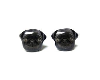 Black Pug Stud Earrings / Dog earrings / pug earrings / pug jewelry / pug lover / dog earrings / dog jewelry / pet loss / gift / A025ER-D23
