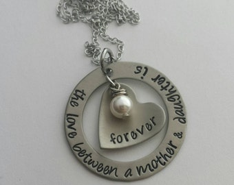 Custom hand stamped, Personalized, The love between a Mother & Daughter is forever... necklace