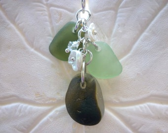 Cluster Sea Glass Necklace Beach Glass Jewelry Sterling English Green Seaglass Pendant