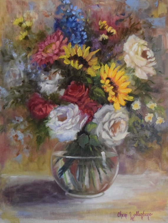 Still Life Floral Painting, White Roses, Red Roses, Sunflowers,Original Oil Painting by Cheri Wollenberg