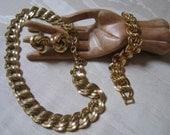 Vintage bold goldtone links necklace, bracelet, clip knot earrings, big Monet necklace, big Napier link bracelet, big clip knotted earrings
